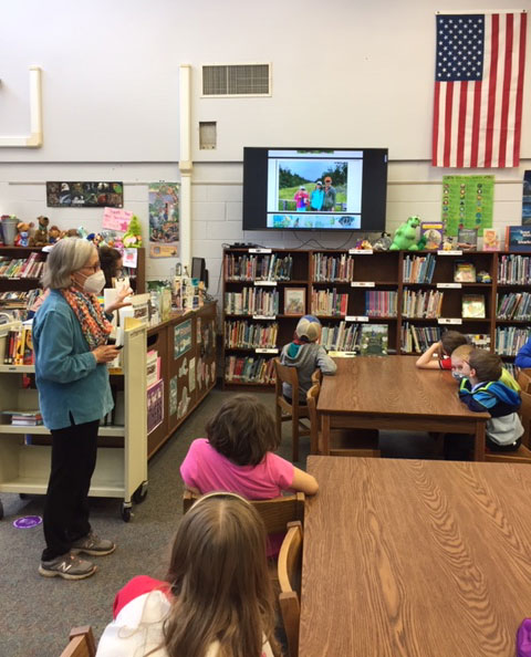 Laurie Lawlor speaking at Eagle Elementary School